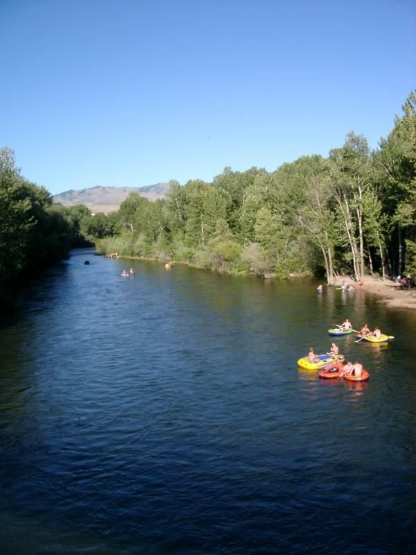 Floating the Boise River in the summer