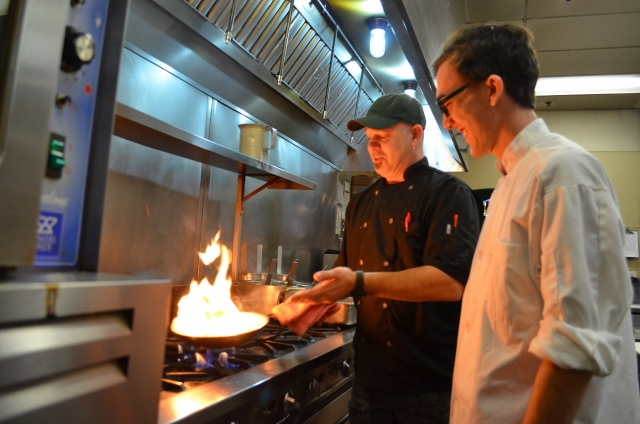 The foundation helped Life's Kitchen start an internship program. Here, a student learns on the job at Asiago's.