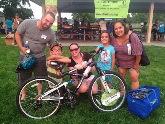 Nate won a bike--the first one of his own--at the Big Brothers Big Sisters summer BBQ.