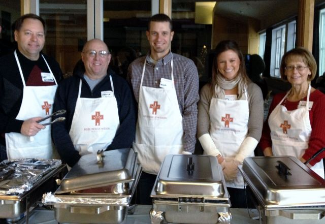 Foundation board members serve at the annual Boise Rescue Mission Christmas dinner.