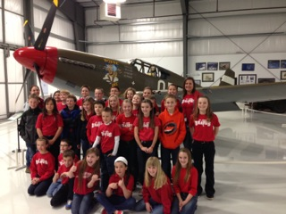 Fifth graders visit the Warhawk Air Museum to learn about our nation's history as part of the foundation's support of its education programs.